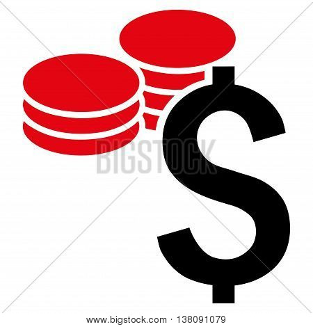Dollar Coins vector icon. Style is bicolor flat symbol, intensive red and black colors, white background.