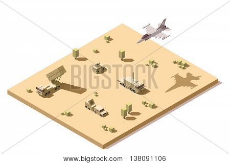 Vector isometric low poly infographic element representing military surface-to-air missile defense system SAM on the desert and jet fighter aircraft in flight