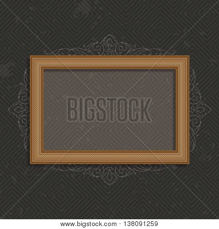 Wooden frame on a black background. Vector photo art frame on vintage wall. Wooden Frame for Photo or Pictures, isolated on dark, stylized a vintage background. Wooden frame in realistic style.