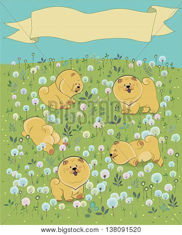 Yellow puppies on the blossoming field. Chow-chow. Watercolor flowers and plants. Yellow banner in the sky for custom text. Illustration