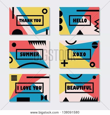 Assorted colorful modern cards templates set with black messages and symbols