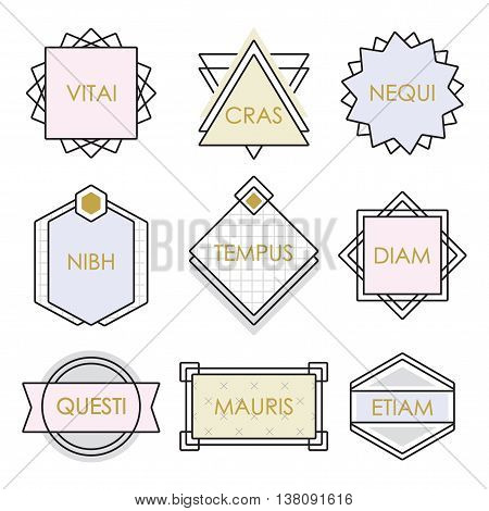 Cute geometrical line vintage emblems and labels set on white background