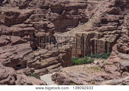 Nabataean Quarry  In Petra Ancient City. View From Al Habis Mountain. Petra. Jordan