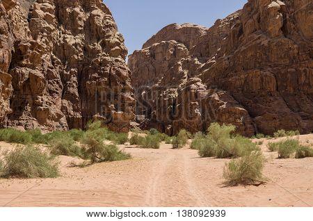 Enter To Barrah Canyon. Wadi Rum (valley Of The Moon), Jordan. Unesco World Heritage.