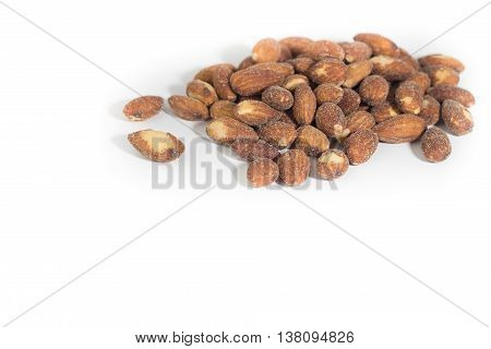 Almonds isolated. Almond. roasted almonds. Salted and roasted almonds on white background
