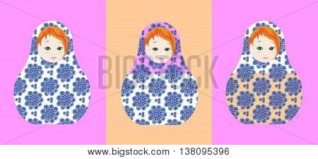 Cute russian dolls - matrioshka. Can be used for chocolate and sweets packaging design. Vector illustration.