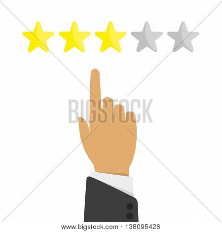 Hand pointing at one of five stars. Rating, evaluation, success, feedback, review, quality and management concept. Rating assessment illustration concept from 5 stars in flat style.