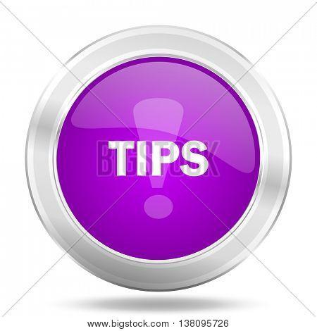 tips round glossy pink silver metallic icon, modern design web element