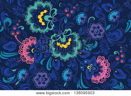 Seamless floral pattern with ornamental flowers in Khokhloma style. Floral design. Traditional russian Hohloma ornament with flowers in dark blue colors. Vector illustration