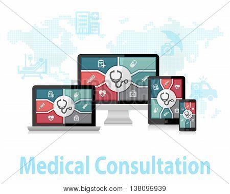 Medical Consultation Online Doctor Apps Responsive Web Design Concept