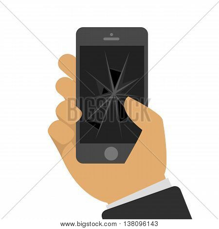 Vector illustration the broken mobile phone in a hand of the person in flat style. The smartphone with the broken screen. Faulty phone in a hand. Universal concept of repair of mobile phones.