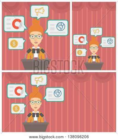 Speaker standing on a podium with microphones at business conference. Woman giving speech at podium and speech squares around her. Vector flat design illustration. Square, horizontal, vertical layouts