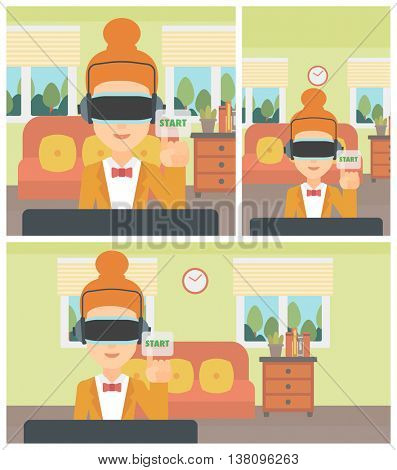 Woman wearing a virtual reality headset and playing video game. Woman in a virtual reality headset pushing virtual button start. Vector flat design illustration. Square, horizontal, vertical layouts.