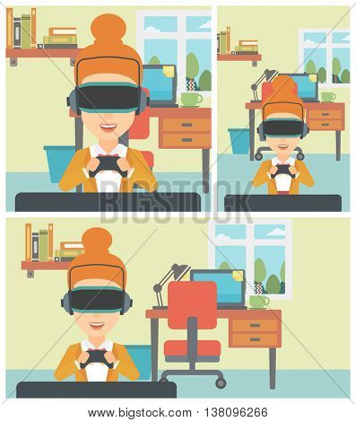 Young woman wearing a virtual reality headset. Smiling woman playing video games with a wireless game controller in hands. Vector flat design illustration. Square, horizontal, vertical layouts.