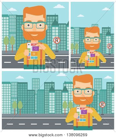 A hipster man with the beard holding modular phone. Young man with modular phone on a city background. Man using modular phone. Vector flat design illustration. Square, horizontal, vertical layouts.