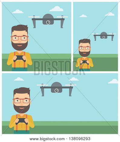 A hipster man with the beard flying drone with remote control. Man operating a drone with remote control. Man controling a drone. Vector flat design illustration. Square, horizontal, vertical layouts.