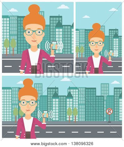 Woman holding ringing mobile phone on a city background. Young woman answering a phone call. Woman with ringing phone in hand. Vector flat design illustration. Square, horizontal, vertical layouts.
