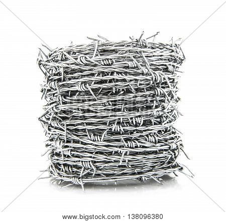Coil of Barbed wire isolated on white background