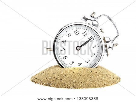 Alarm clock with pile of sand of white background passing of time concept