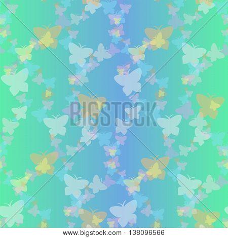 Soaring butterflies on aquamarine background. EPS 10 vector