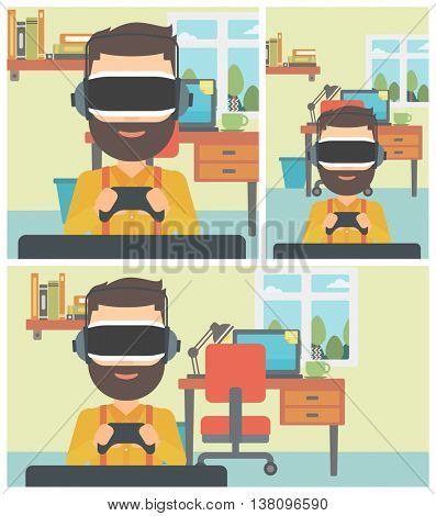 A hipster man with the beard wearing a virtual reality headset. Young man playing video game with game controller in hands. Vector flat design illustration. Square, horizontal, vertical layouts.