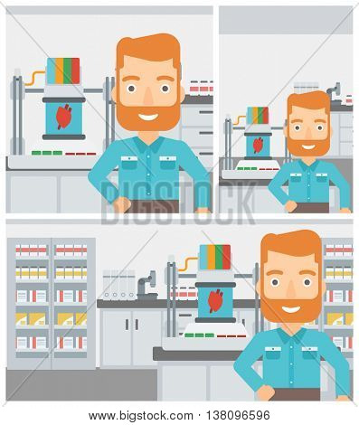 Hipster man with the beard standing near 3D printer making a heart on the background of laboratory. Man working with 3D printer. Vector flat design illustration. Square, horizontal, vertical layouts.