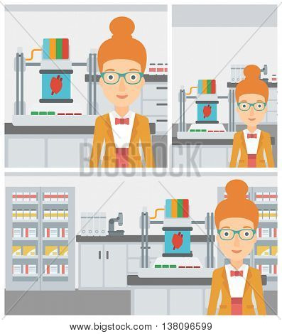 Young woman with 3D printer making a heart on the background of laboratory. Woman working with 3D printer. Vector flat design illustration. Square, horizontal, vertical layouts.