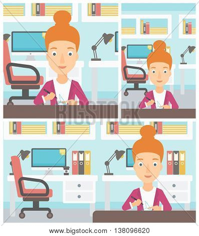 Young woman making a model with a 3D pen. Woman drawing geometric shape by 3d pen. Engineer working with a 3 dimensional pen. Vector flat design illustration. Square, horizontal, vertical layouts.