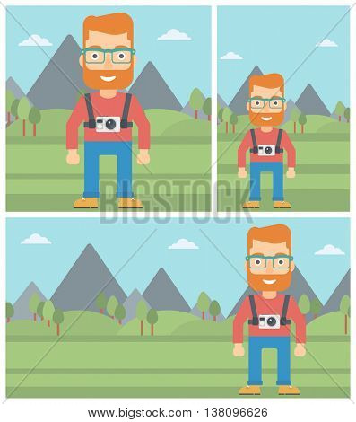 Young hipster man with a digital camera on his chest. Tourist with a digital camera standing on the background of mountains. Vector flat design illustration. Square, horizontal, vertical layouts.