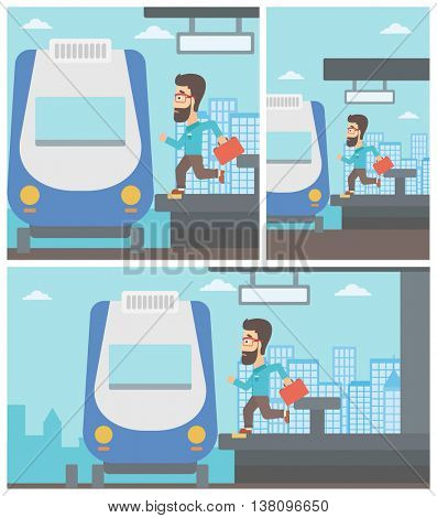 Latecomer man with briefcase running along the platform to reach the train. Hipster man came too late at train station. Vector flat design illustration. Square, horizontal, vertical layouts.