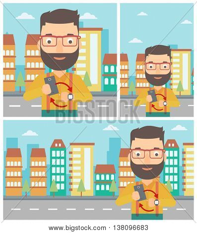 Hipster man with the beard holding smartphone and looking at his smart watch. Synchronization between smartwatch and smartphone. Vector flat design illustration. Square, horizontal, vertical layouts.