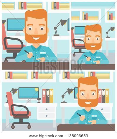 A hipster man with the beard making a model with a 3D pen. Man drawing geometric shape by 3d pen. Man working with a 3d-pen. Vector flat design illustration. Square, horizontal, vertical layouts.