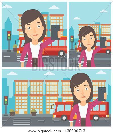 Woman making selfie. Woman taking photo with cellphone. Woman looking at smartphone and taking selfie on the background of city. Vector flat design illustration. Square, horizontal, vertical layouts.