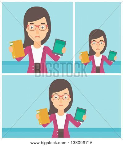 Confused woman choosing between tablet computer and paper book. Woman holding book in one hand and tablet computer in the other. Vector flat design illustration. Square, horizontal, vertical layouts.