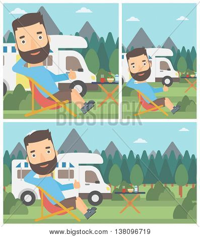 Young man sitting in a folding chair and giving thumb up on the background of camper van. Man enjoying vacation in camper van. Vector flat design illustration. Square, horizontal, vertical layouts.