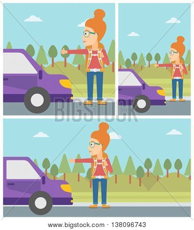 Young woman with backpack hitchhiking on roadside. Hitchhiking woman trying to stop a car on the road. Vector flat design illustration. Square, horizontal, vertical layouts.
