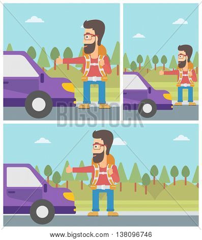 Young hipster man with backpack hitchhiking on roadside. Hitchhiking man with the beard trying to stop a car on the road. Vector flat design illustration. Square, horizontal, vertical layouts.