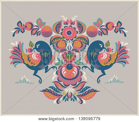 Folk Gorodets print in Russian Style. A floral pattern with two birds. Traditional vector art in in pink, yellow, blue colors