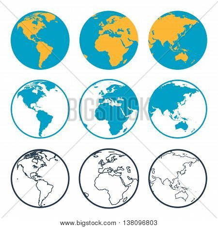 Vector nine planet globe with different sides in flat style and outline thin icon. View to America Africa and Asia