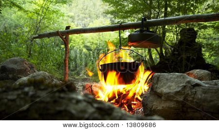 Camping fire and kettle