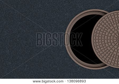 Concept of danger, safety cannot be half or partially. Not completely closed cover of a sewer manhole, top view, 3D illustration.