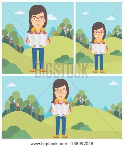 Traveler with backpack looking at map. Young woman travelling in mountains. Traveler searching right direction on map. Vector flat design illustration. Square, horizontal, vertical layouts.