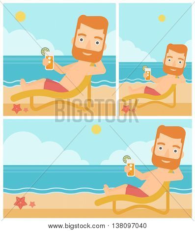 Hipster man with the beard sitting in chaise longue and holding a cocktail in hand on the background of sand beach with blue sea. Vector flat design illustration. Square, horizontal, vertical layouts.