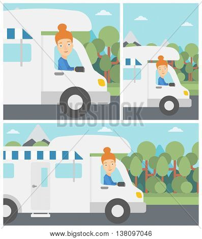 Young woman driving a motor home in the forest. Woman travelling by camper van. Vector flat design illustration. Square, horizontal, vertical layouts.