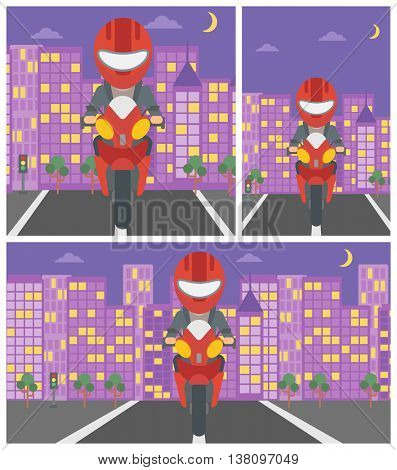 Young woman in helmet riding a motorcycle on the background of night city. Woman driving a motorbike on a city road. Vector flat design illustration. Square, horizontal, vertical layouts.