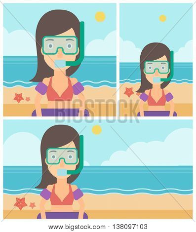 Woman in mask, tube and rubber ring standing on the background of beach and sea. Woman wearing snorkeling equipment on the beach. Vector flat design illustration. Square, horizontal, vertical layouts.