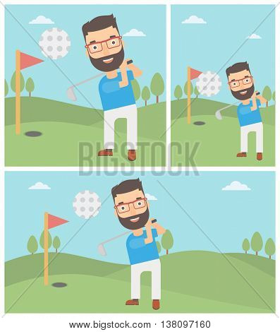 A hipster golfer with the beard hitting the ball. Professional golfer on golf course. Young man playing golf. Vector flat design illustration. Square, horizontal, vertical layouts.
