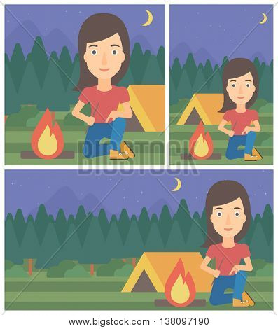 Woman kindling campfire on the background of camping site with tent. Tourist relaxing near campfire. Woman sitting near campfire. Vector flat design illustration. Square, horizontal, vertical layouts.