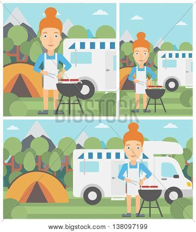 Young woman cooking meat on barbecue on the background of camper van. Woman travelling by camper van and having barbecue party. Vector flat design illustration. Square, horizontal, vertical layouts.