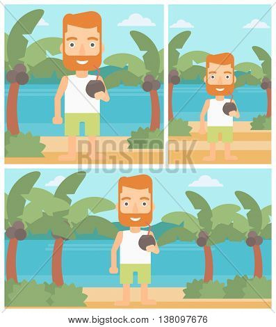 Hipster man with a coconut cocktail on the beach. Young man drinking a coconut cocktail on the beach. Man enjoying his vacation. Vector flat design illustration. Square, horizontal, vertical layouts.